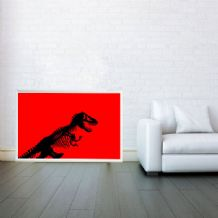 Jurassic Park Red T rex Dino dinosaur Skeleton Digital Illustration Giclee Art Print Mixed Media, Prints & Posters, Wall Art Print,